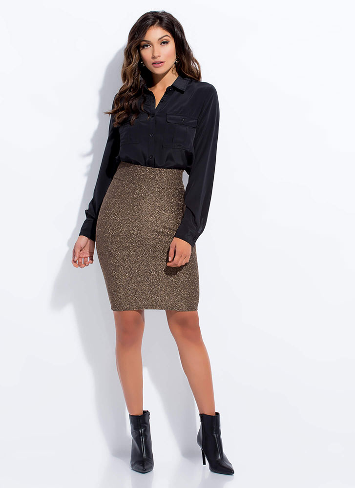 Glittery Night Out Sparkly Pencil Skirt MOCHA