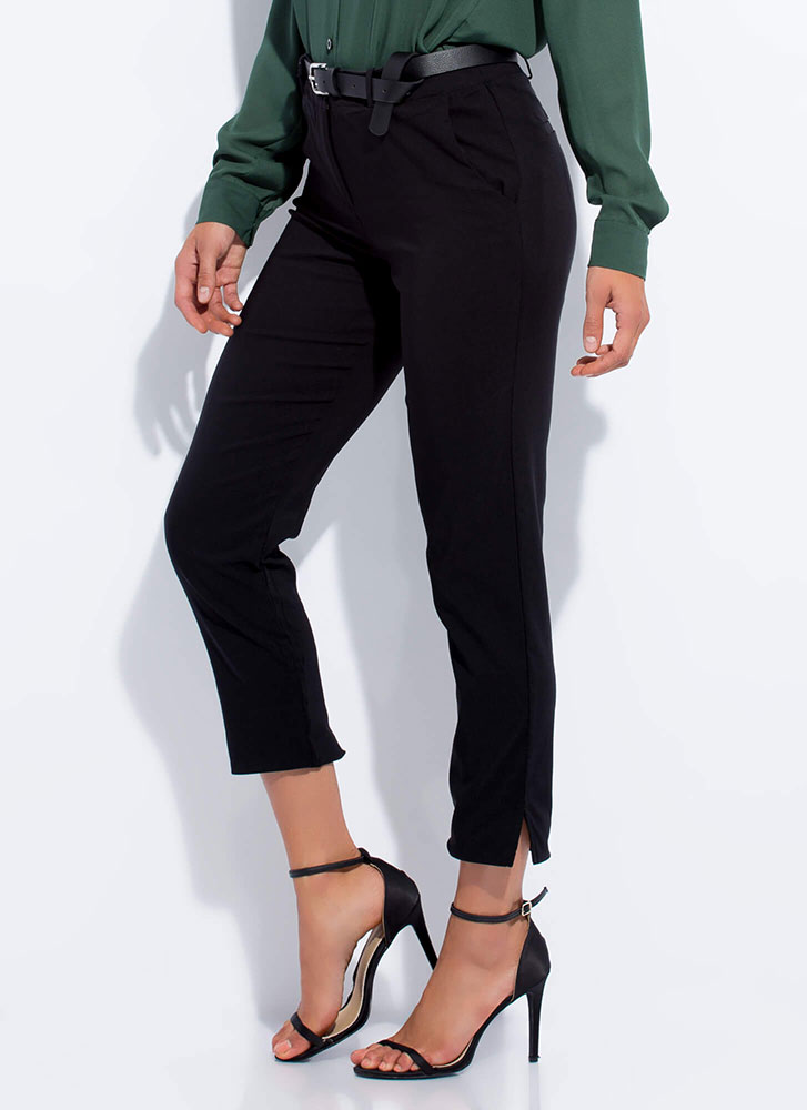 Smarty Pants Cropped Slit Trousers BLACK