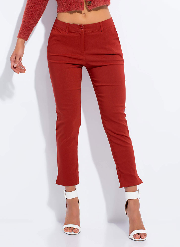 Smarty Pants Cropped Slit Trousers RUST