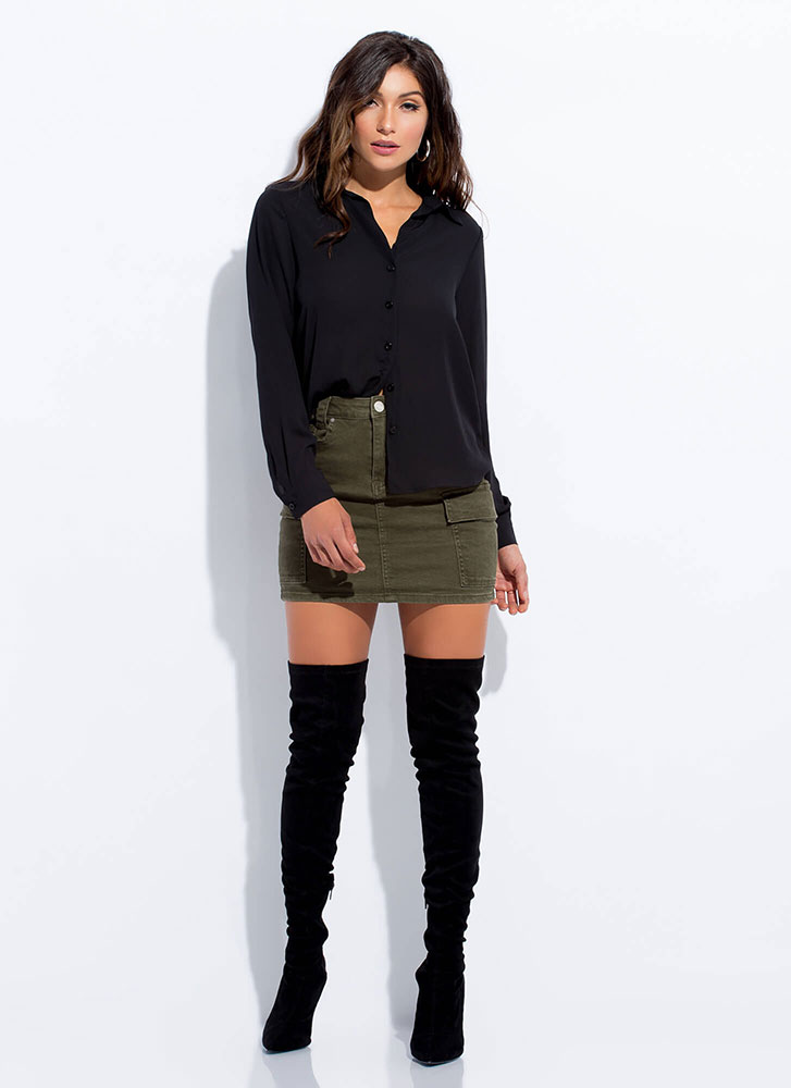 Perfect Semi-Sheer Button-Up Blouse BLACK