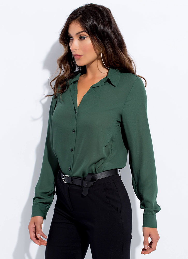 Perfect Semi-Sheer Button-Up Blouse GREEN