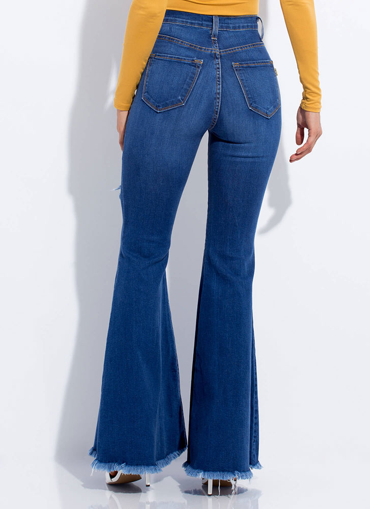 Play Flare Destroyed Bell-Bottom Jeans MEDBLUE