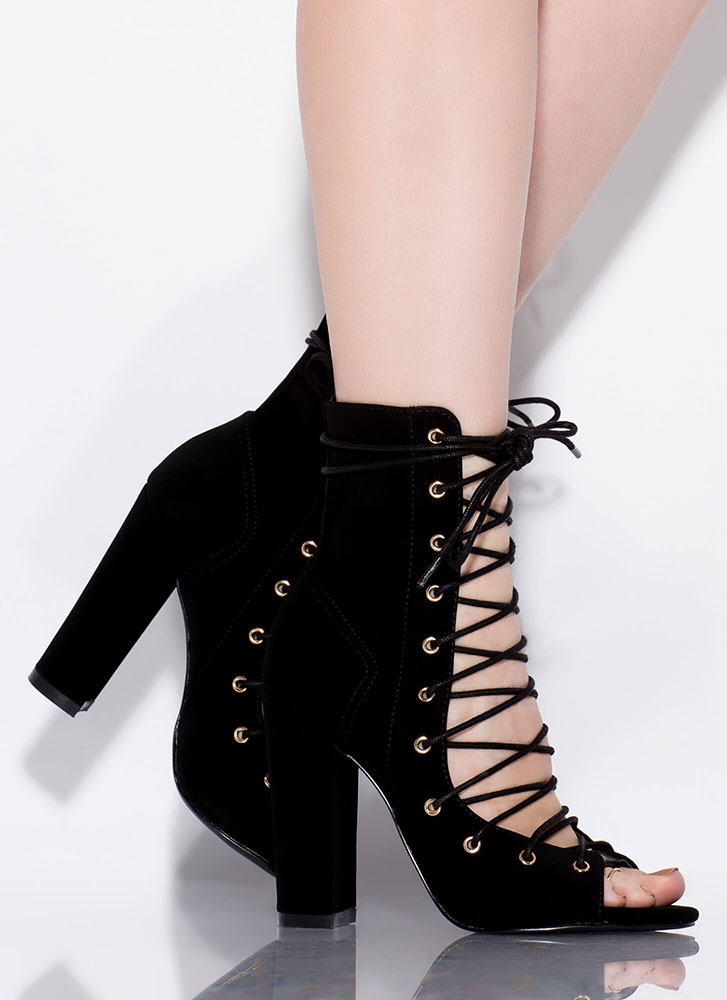 Lace 'Em Up Chunky Faux Nubuck Heels BLACK