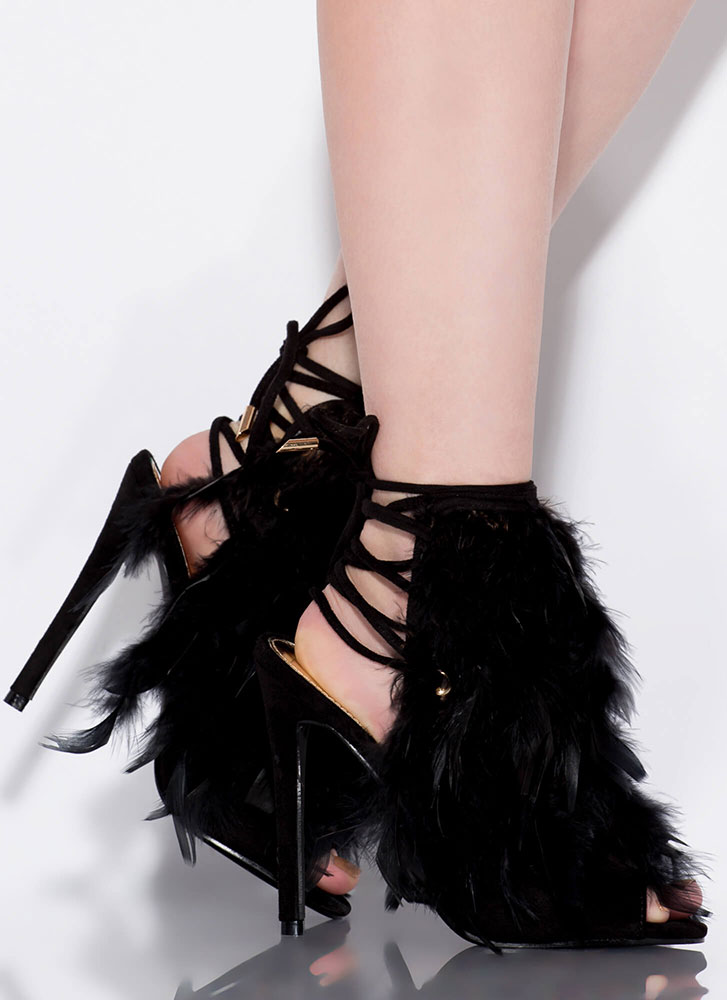 Feather Forecast Lace-Back Heels BLACK