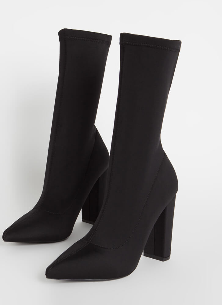 Tall Order Pointy Sock Booties BLACK