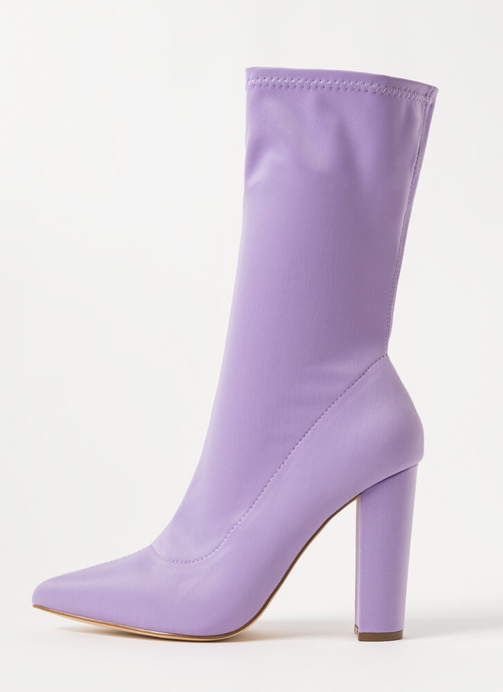 Tall Order Pointy Sock Booties LILAC