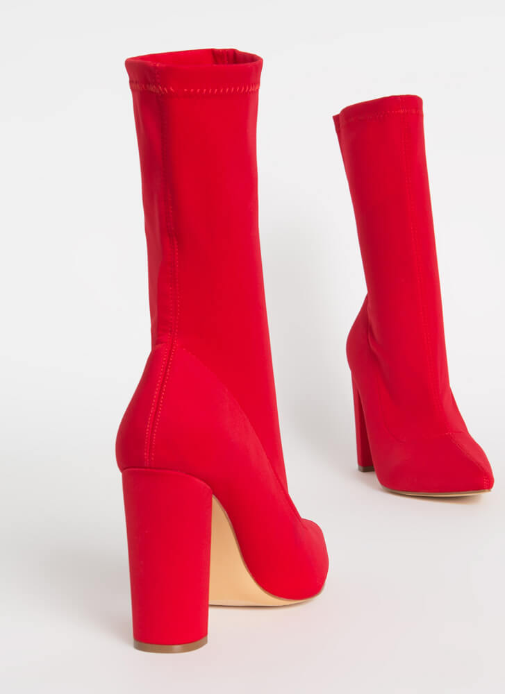 Tall Order Pointy Sock Booties RED