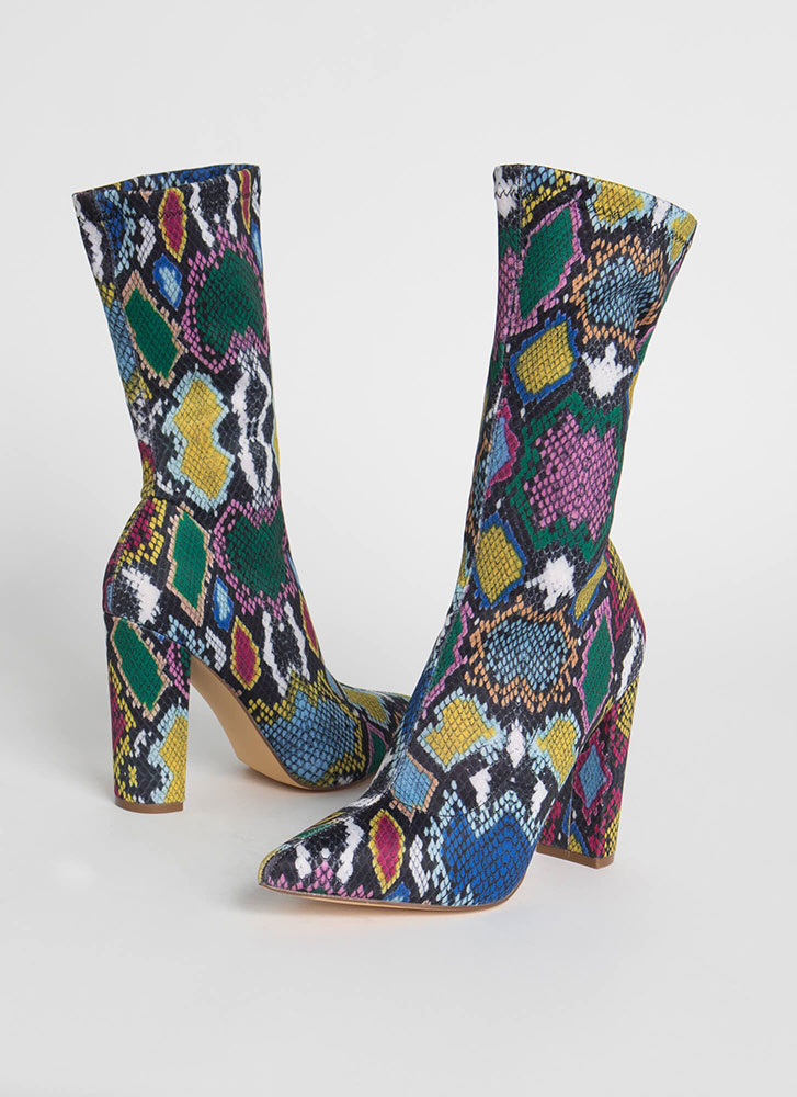 Tall Order Pointy Snake Sock Booties MULTI (Final Sale)