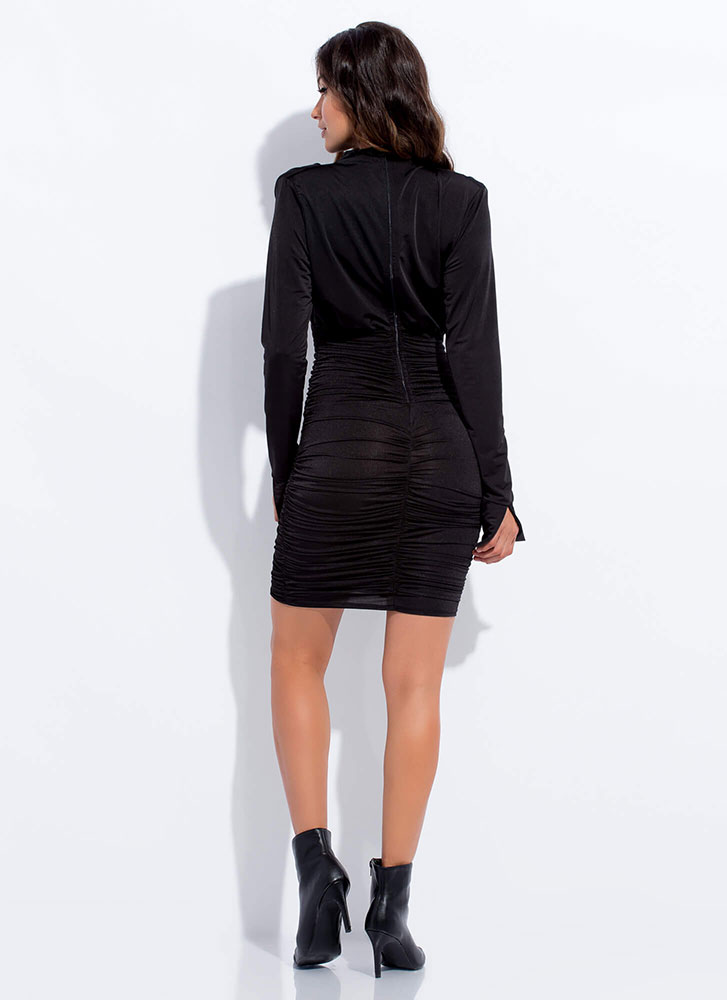 Absolutely Shirr Draped Ruched Dress BLACK