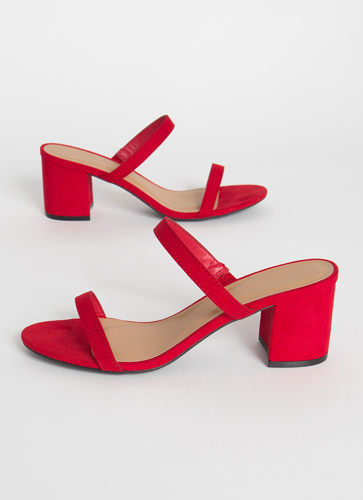 Two Cute Strappy Chunky Block Heels RED (Final Sale)