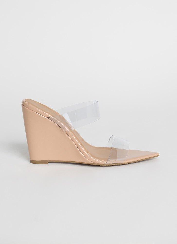 Exclusive Clear Strap Mule Wedges NUDE