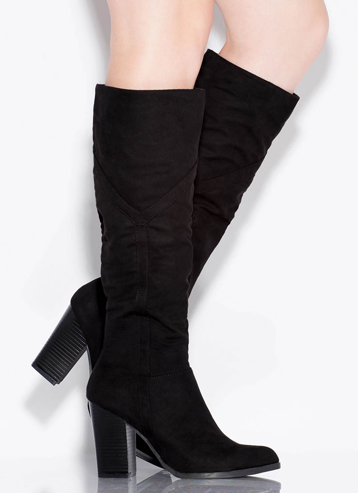 Tell Me Y Chunky Knee-High Boots BLACK
