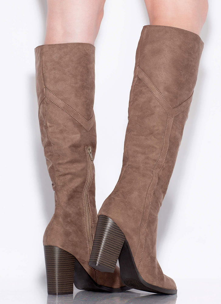 Tell Me Y Chunky Knee-High Boots TAUPE