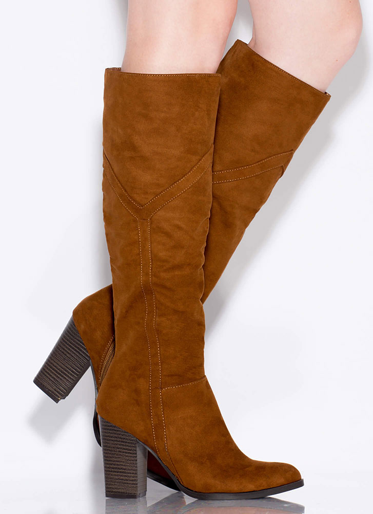 Tell Me Y Chunky Knee-High Boots TOBACCO