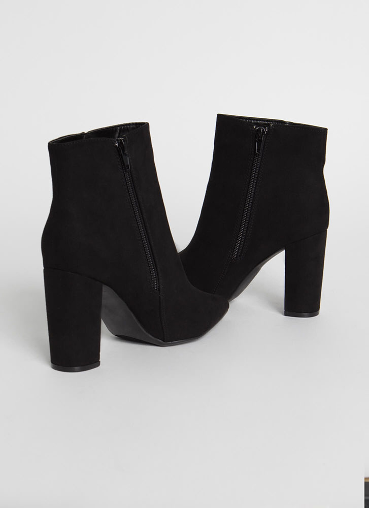 Your Fave Chunky Faux Suede Booties BLACK
