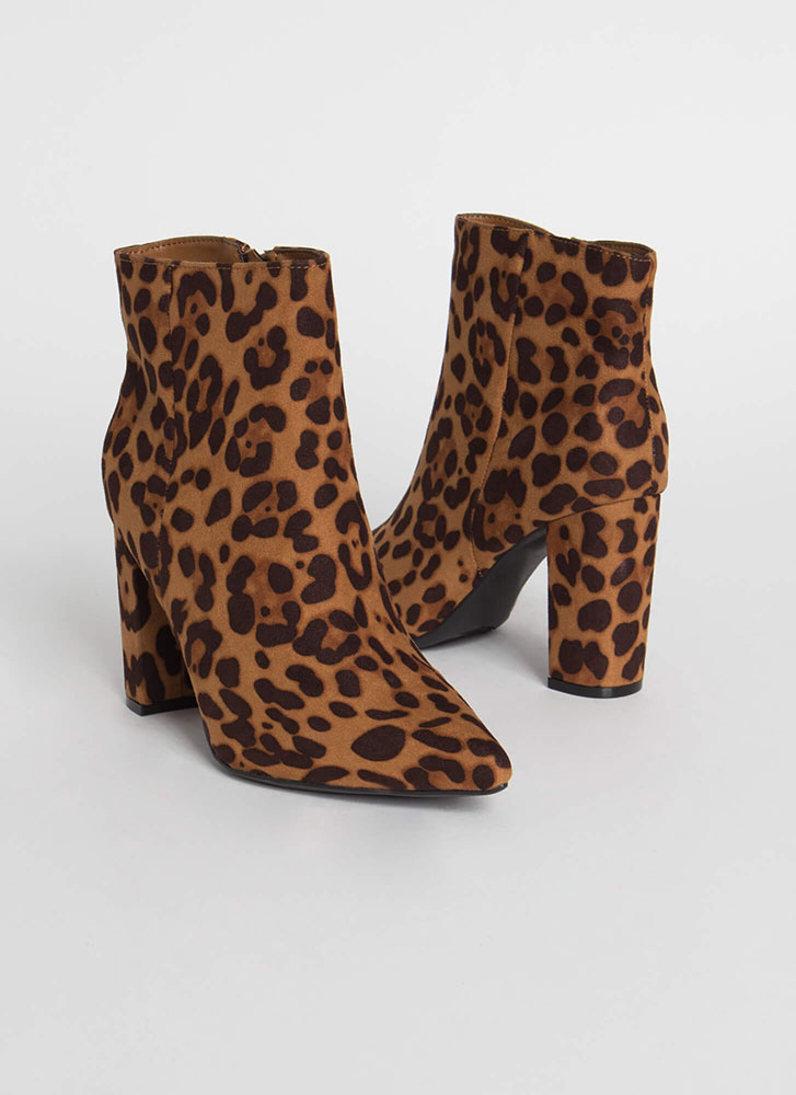 Your Fave Chunky Faux Suede Booties LEOPARD