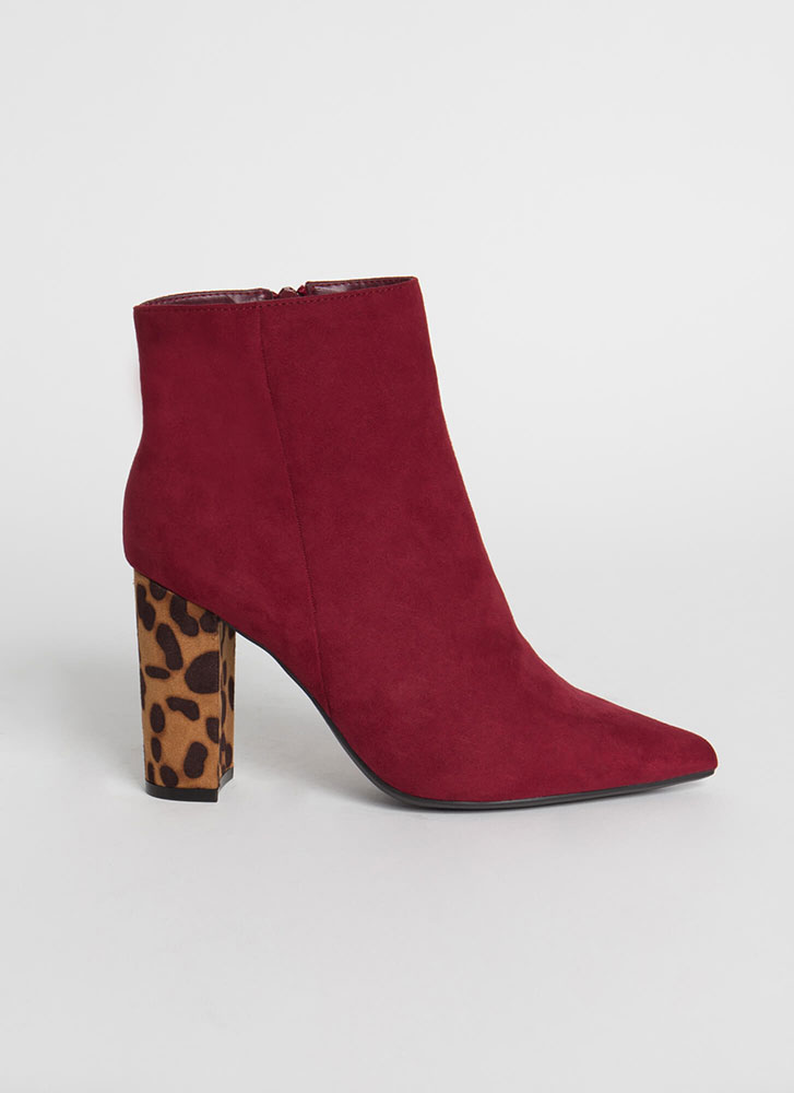 Your Fave Chunky Faux Suede Booties WINE