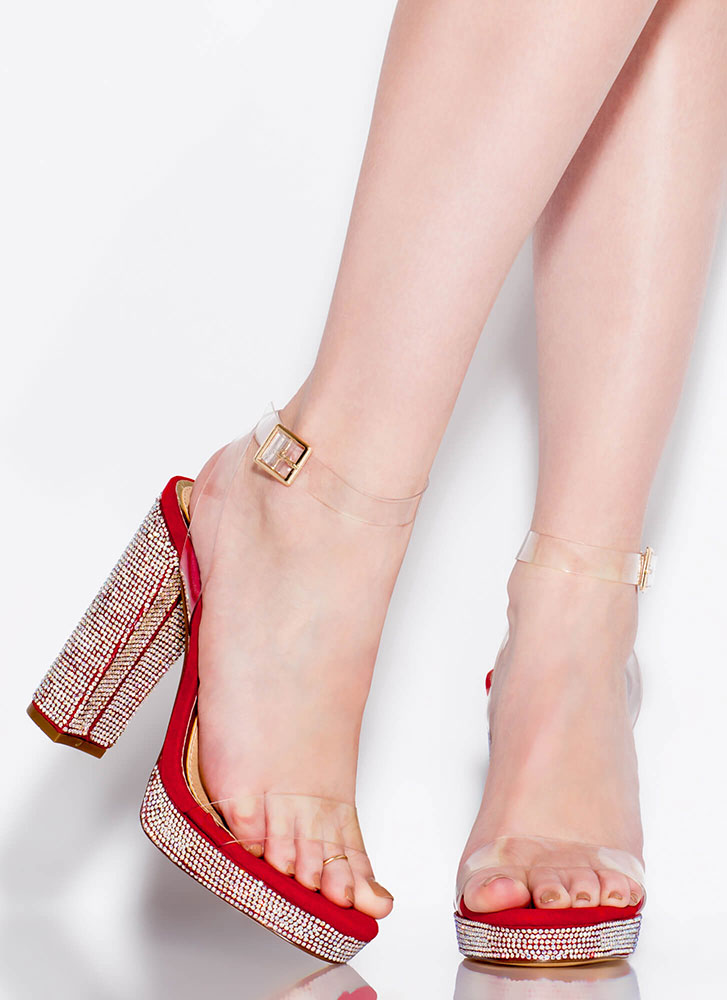 Clearly Gorgeous Chunky Rhinestone Heels RED