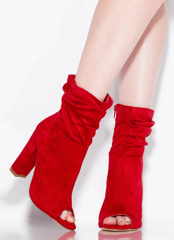 Scrunch Time Slouchy Peep-Toe Booties RED