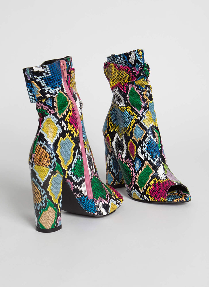 Scrunch Time Slouchy Snake Print Booties MULTI