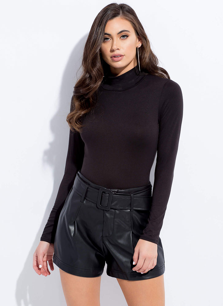 Miss Moto Flared Faux Leather Shorts BLACK