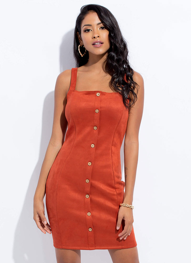 Per-Suede Me Button-Front Dress RUST
