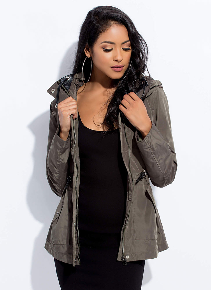 In A Snap Hooded Drawstring Jacket OLIVE