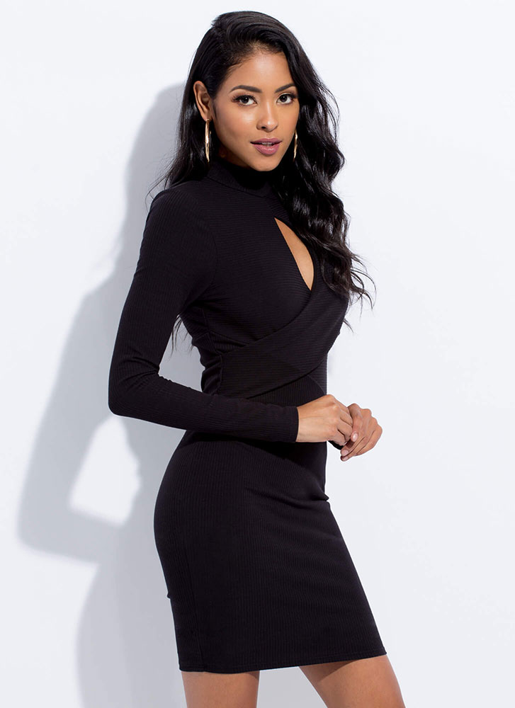 Keyhole To My Heart Wrap-Front Dress BLACK