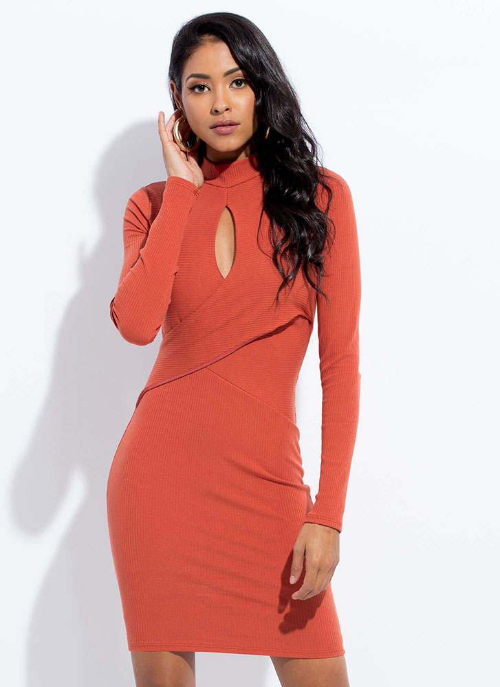 Keyhole To My Heart Wrap-Front Dress RUST