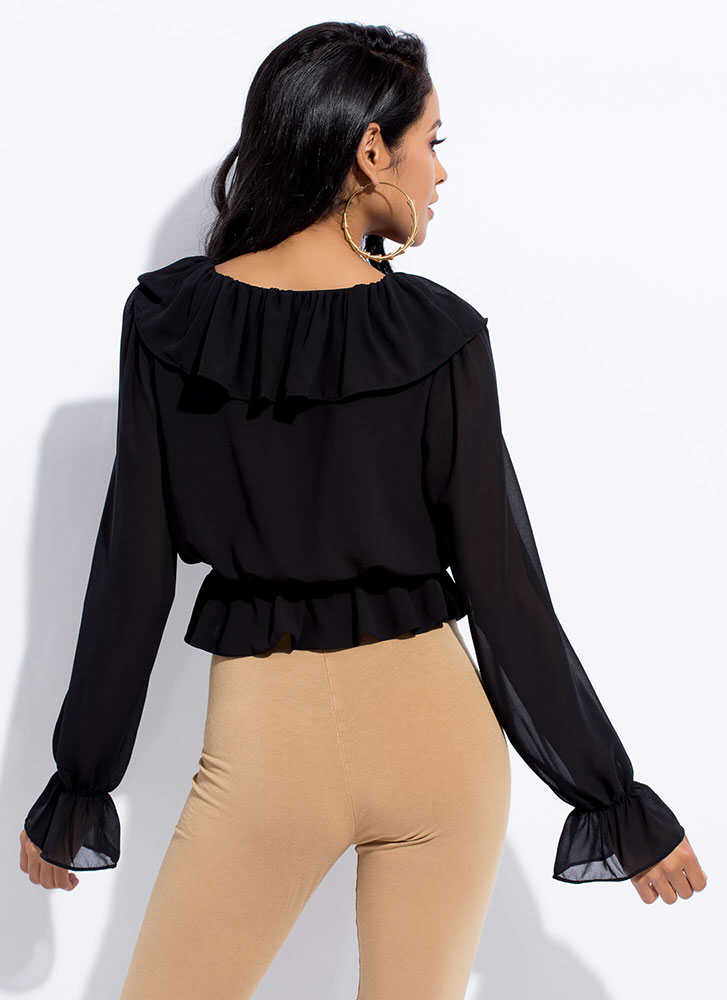 Frilly Favorite Ruffled Lace-Up Top BLACK