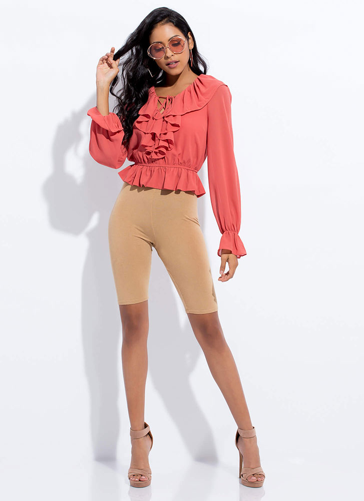 Frilly Favorite Ruffled Lace-Up Top TERRACOTTA