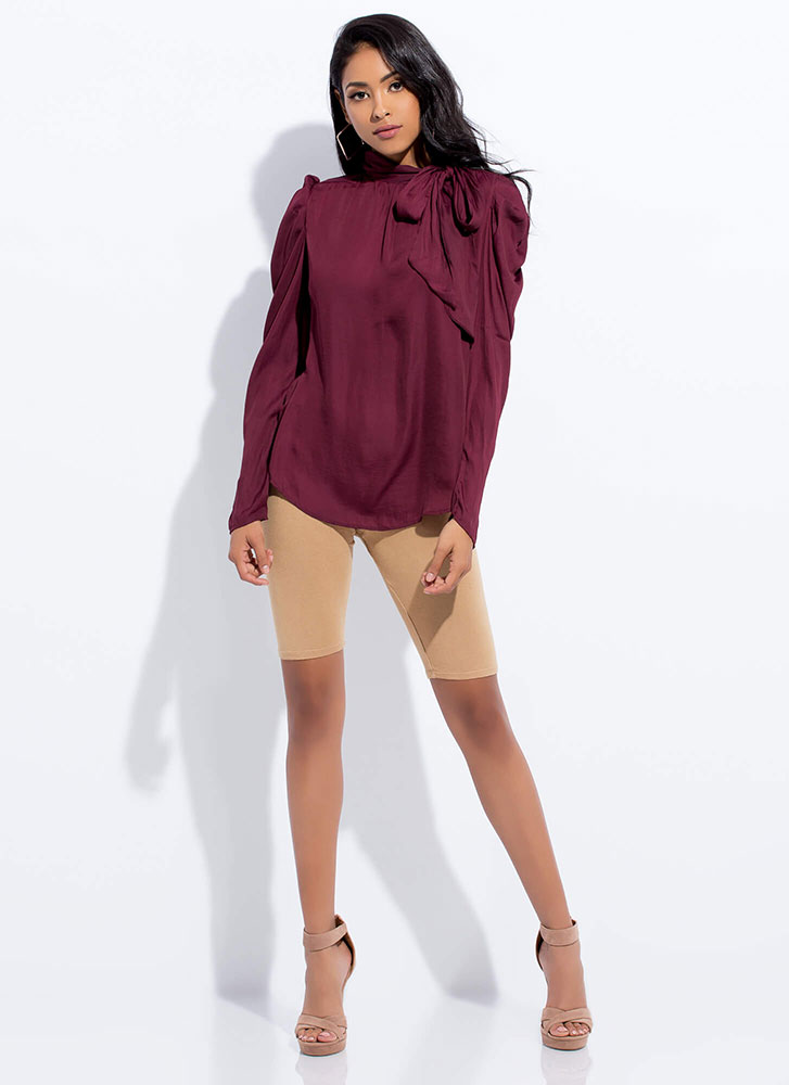 Self-Made Lady Tied Puffy Sleeve Blouse WINE
