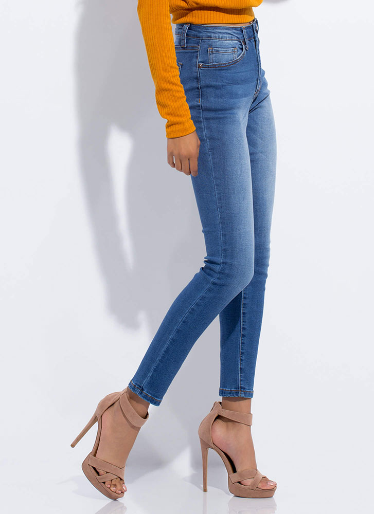 Closet Essential Washed Skinny Jeans BLUE