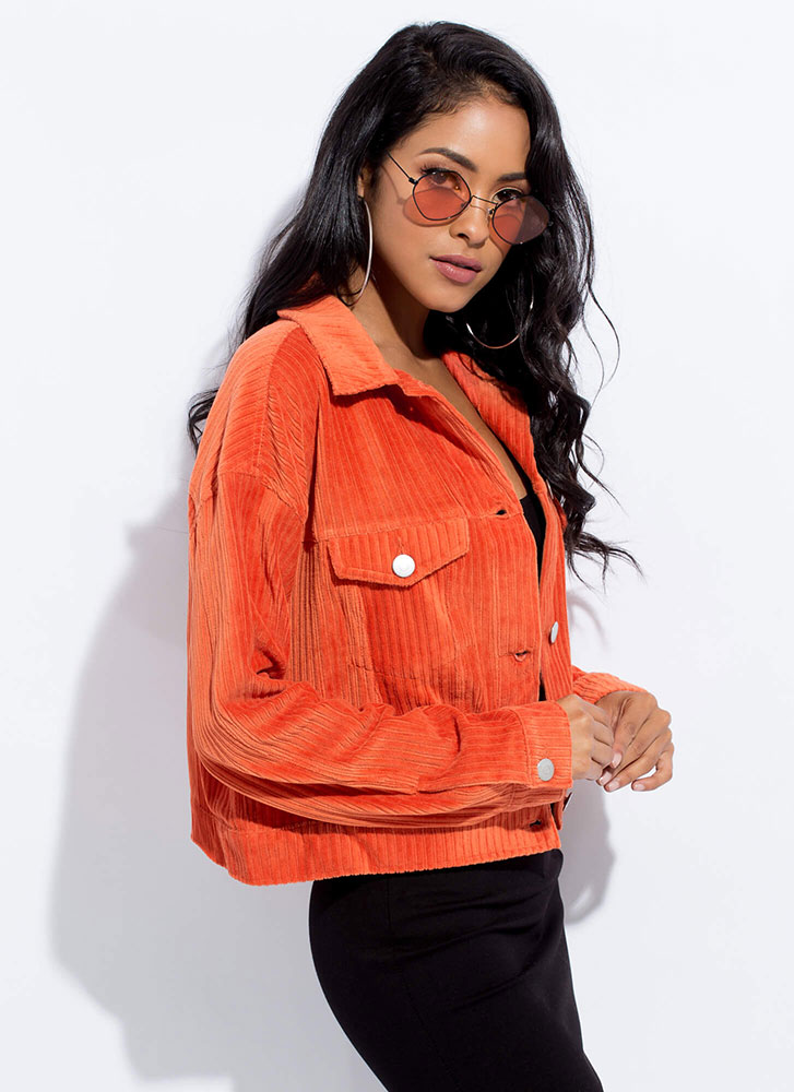 So Chill Button-Up Corduroy Jacket RUST