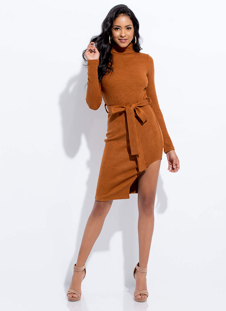 Cute Sweater Tied Knit Turtleneck Dress CAMEL