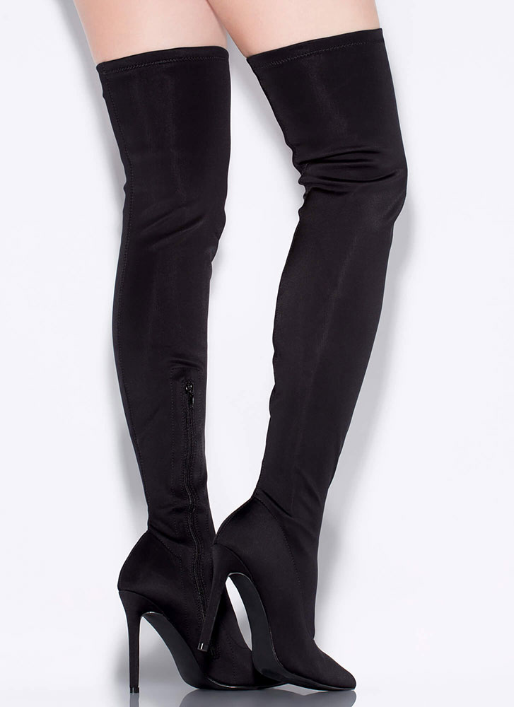 It Sleeks To Me Pointy Thigh-High Boots BLACK