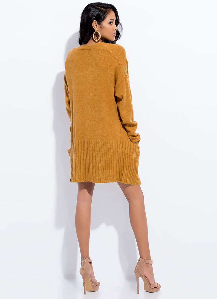 Long For You Fuzzy Knit Cardigan MUSTARD