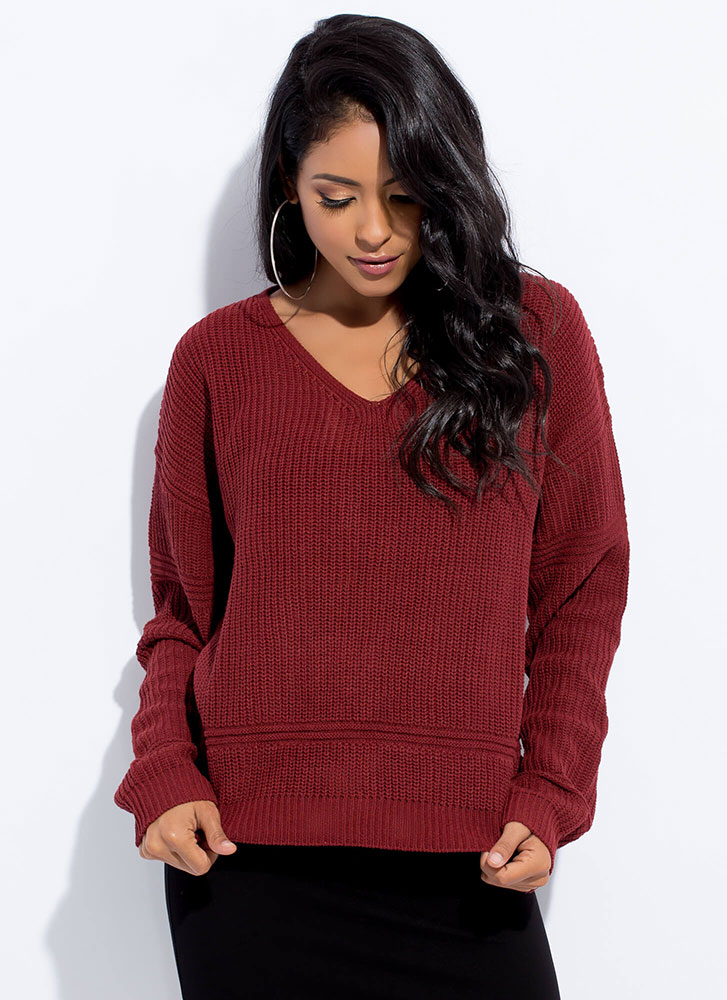 It's Your Turn Lace-Back Knit Sweater BRICK