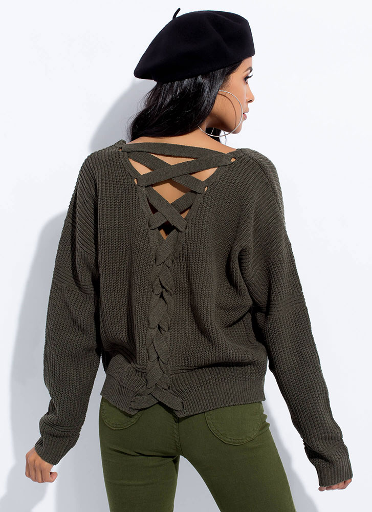 It's Your Turn Lace-Back Knit Sweater OLIVE