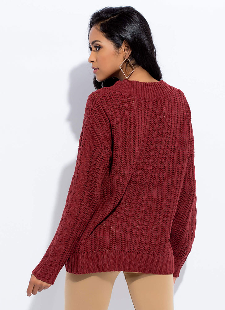 Twists And Turns Cable Knit Sweater BRICK