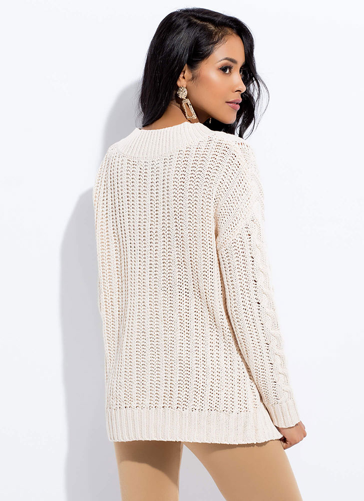 Twists And Turns Cable Knit Sweater CREAM