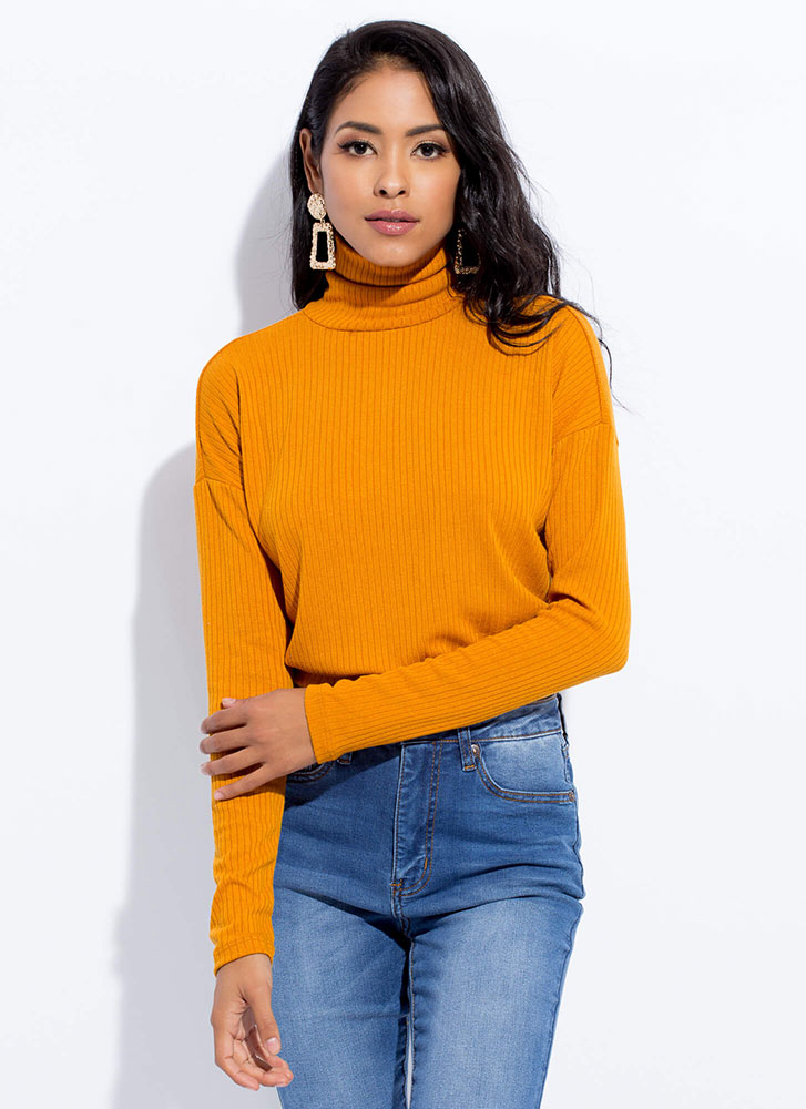 Covered Girl Ribbed Turtleneck Crop Top MUSTARD