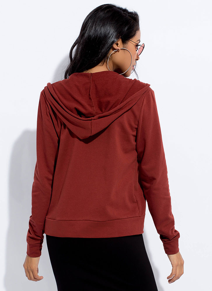 Going Out Zip-Front Drawstring Hoodie TERRACOTTA
