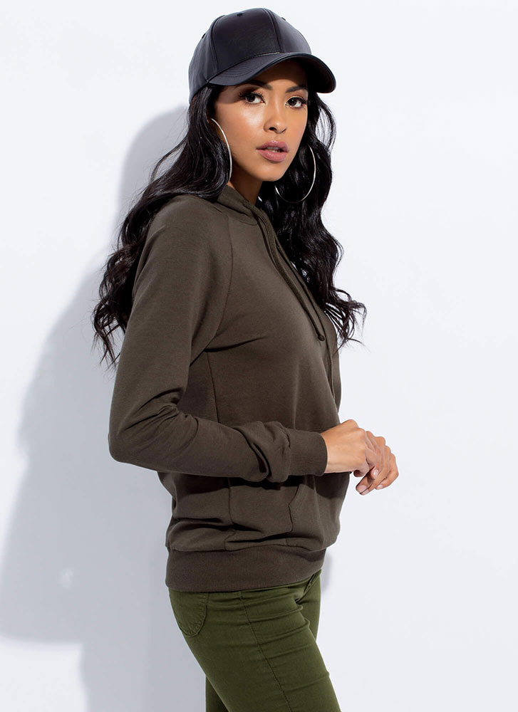 Cool And Casual Slim-Fit Hoodie OLIVE