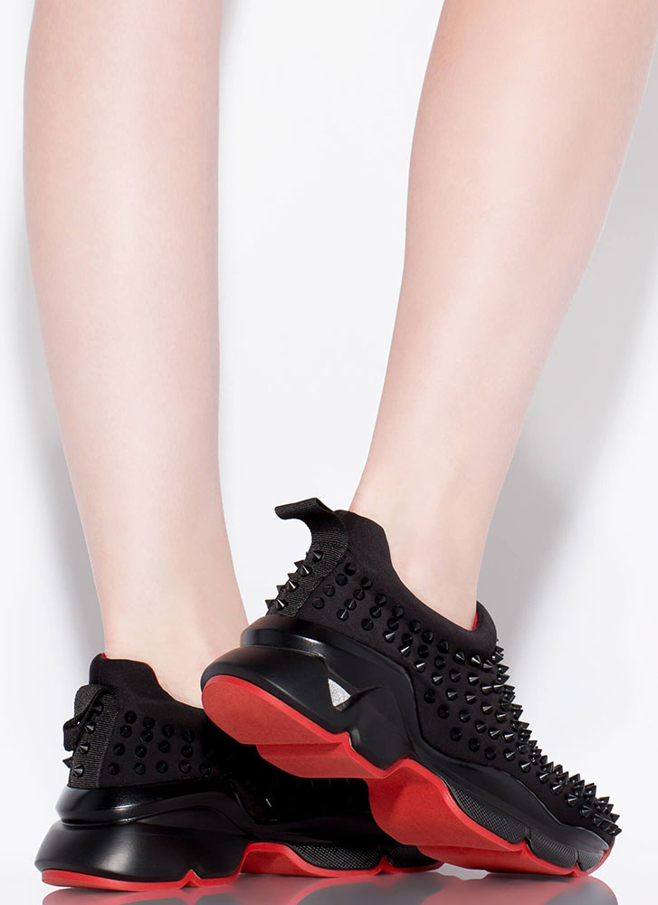 Heart Rate Spike Studded Sneakers BLACK