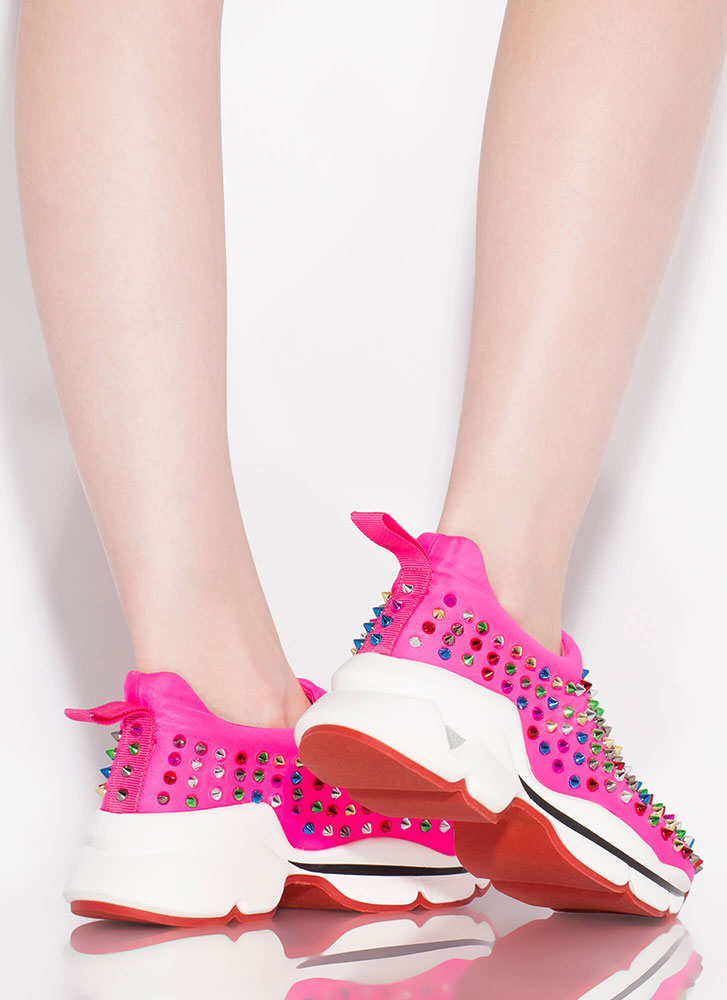 Heart Rate Spike Studded Sneakers PINK