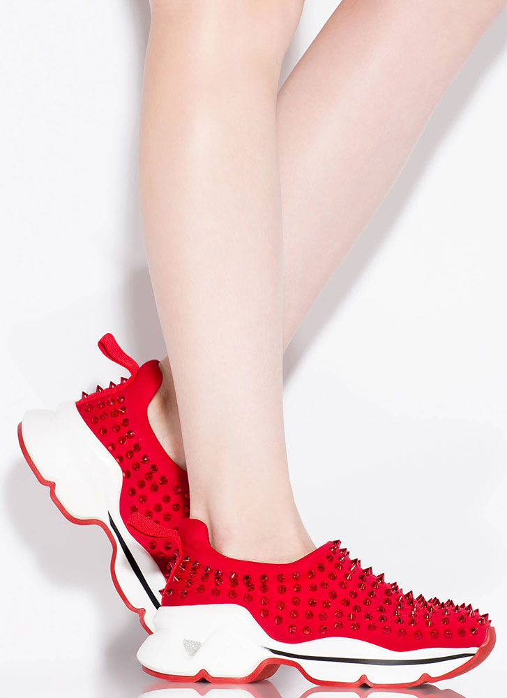 Heart Rate Spike Studded Sneakers RED