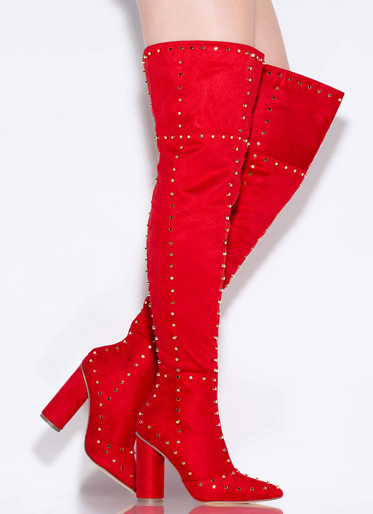 Studded Girl Chunky Thigh-High Boots RED