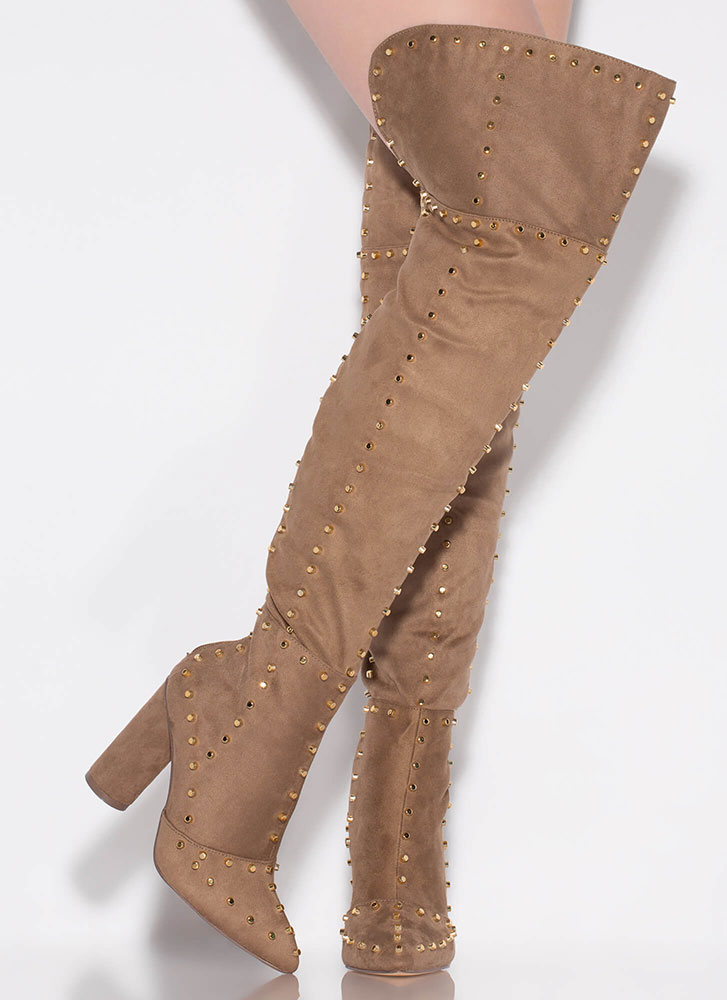 Studded Girl Chunky Thigh-High Boots TAUPE