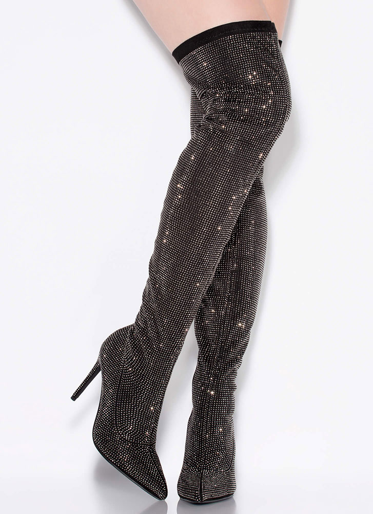Glisten To Me Jeweled Thigh-High Boots BLACK
